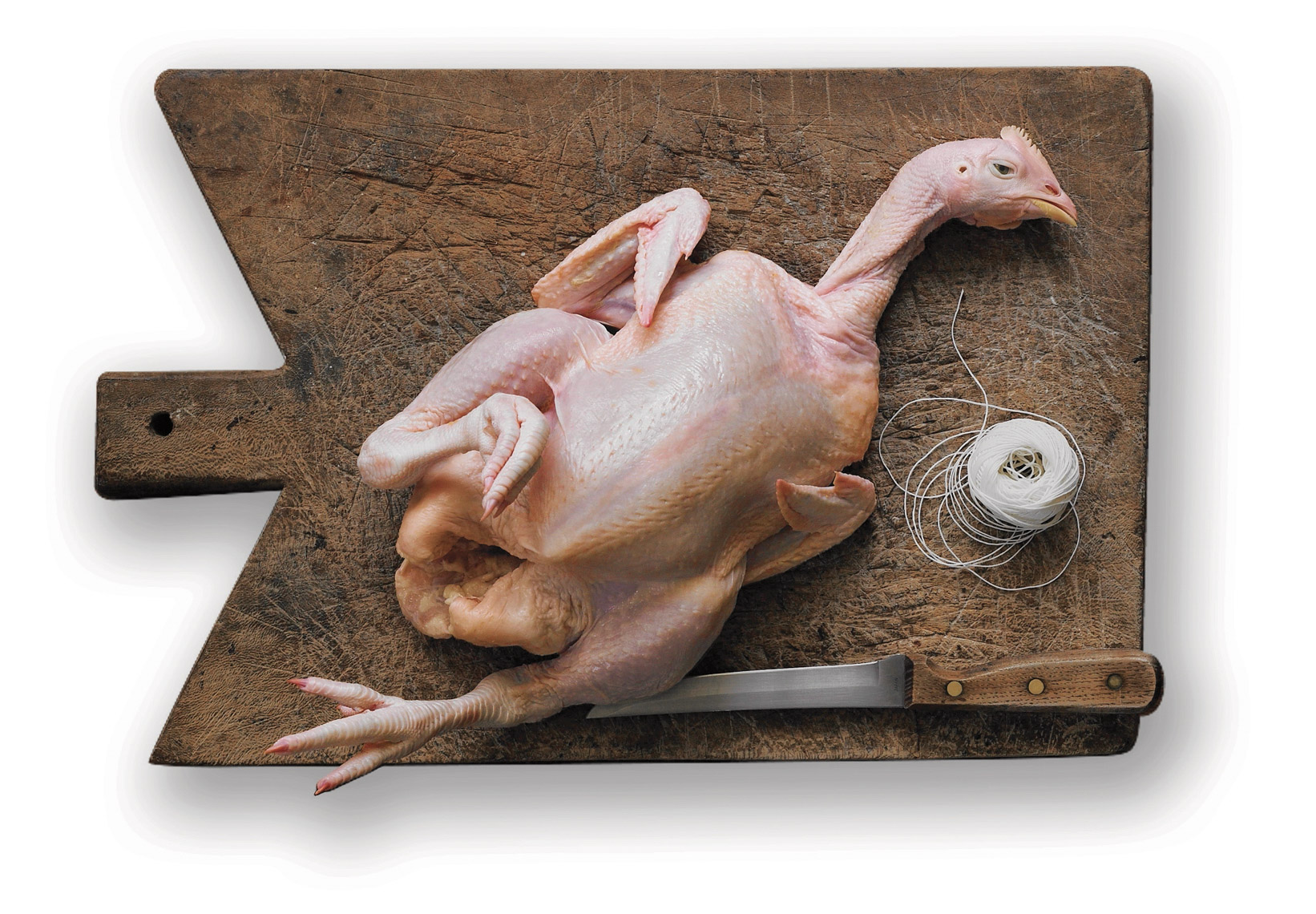 food stylist in Oakland - Whole chicken with head and feet, photographed by Laurie Frankel photographer
