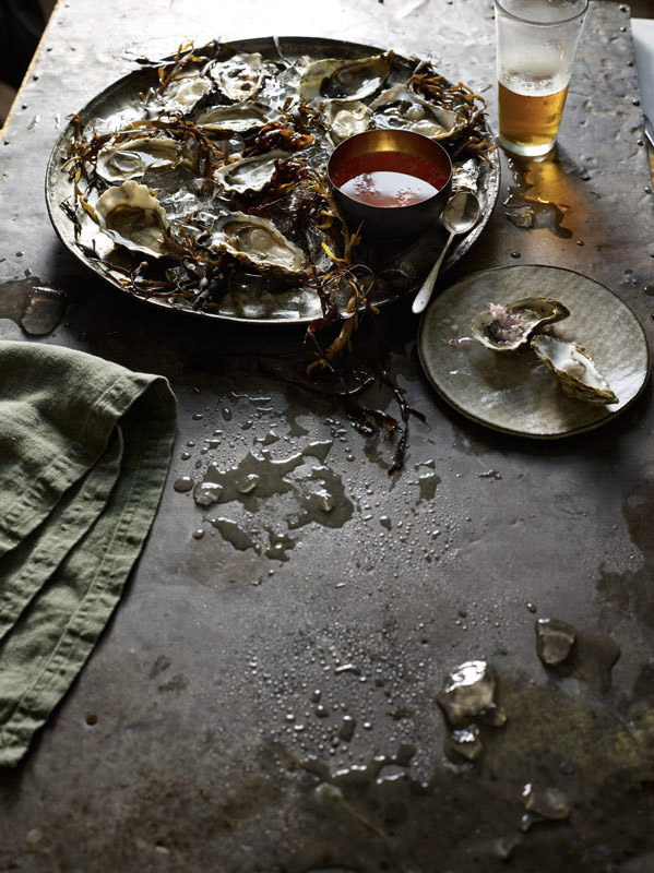 food stylist in San Francisco - Oyster platter with ice photographed by Laurie Frankel Photographer