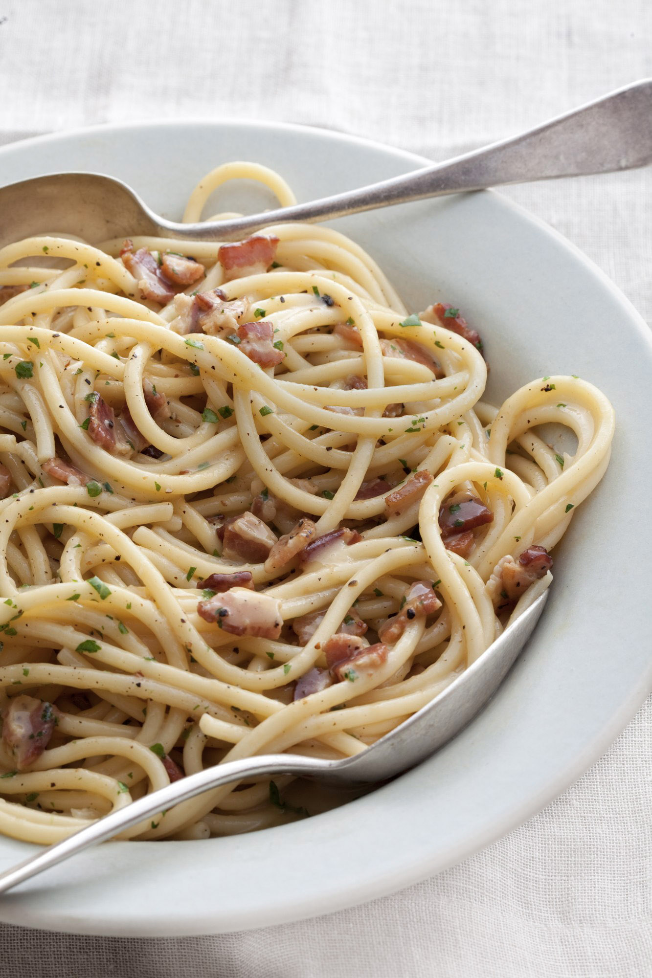 food stylist in San Francisco - Spaghetti Carbonara for the Pasta Cookbook by Julia Della Croce, photographed by Ray Katchatorian photographers