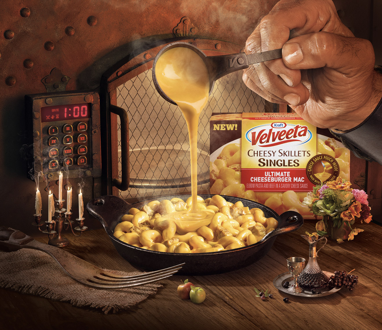 food stylist in San Fancisco - Cheesy skillet Kraft Velveeta macaroni and cheese advertising photographed by Maren Caruso photographer