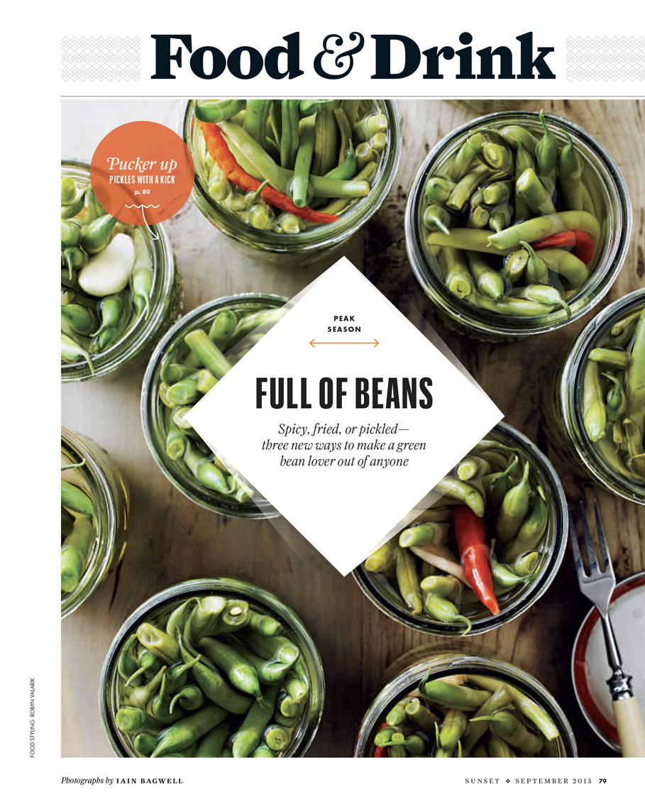 Robyn Valarik San Francisco Based Food & Drink Stylist - Peak Season, Sunset Magazine. Pickled green beans, organic, overhead photo, mason jar.