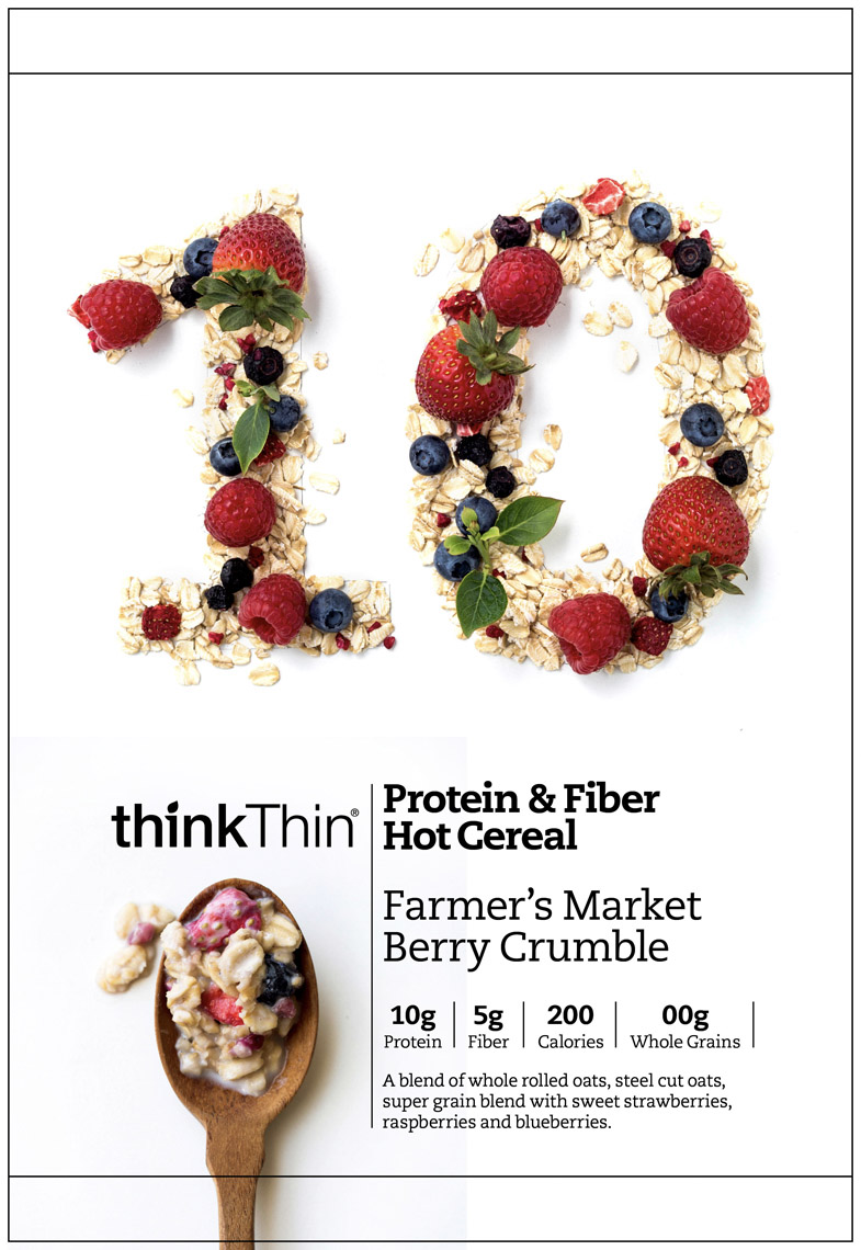 food stylist in San Fancisco - Farmers market bery crumble Think thin protein and fiber hot oatmeal packaging photographed by Eva Kolenko photographer