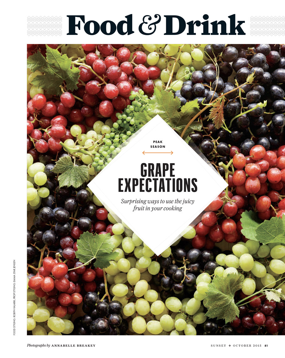 food stylist in Napa Valley - Grape varieties. Green, red, and black grapes with leavesSunset Magazine: Peak Season story photographed by Iain Bagwell photographer