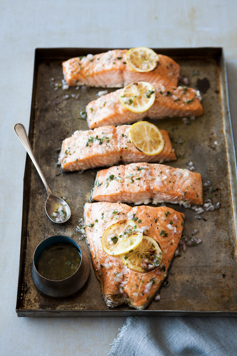food stylist in San Francisco - SBaked wild king salmon for Food & Wine Magazine, photographed by Erin Kunkel