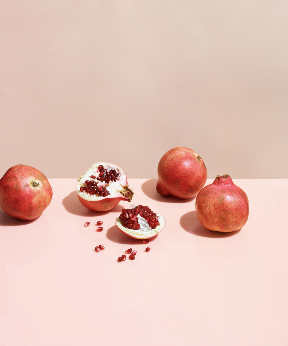 food stylist in San Francisco - Fresh pomegranites - Ingredients Skin Rx advertising Art Directed by Robert Valentine art director photographed by Laurie Frankel photographer