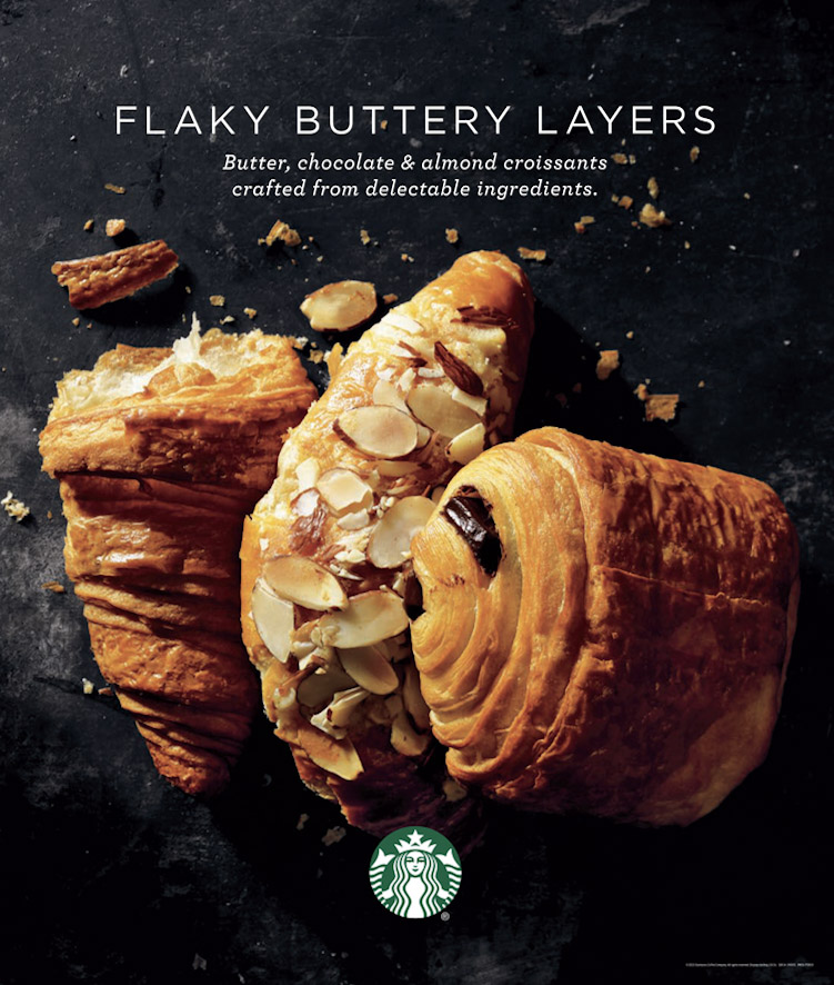 food stylist in San Francisco - chocolate croissant, buttery croissant, almond croissant Starbucks Coffee - Saudi Arabia photographed by Dan Goldberg photographer