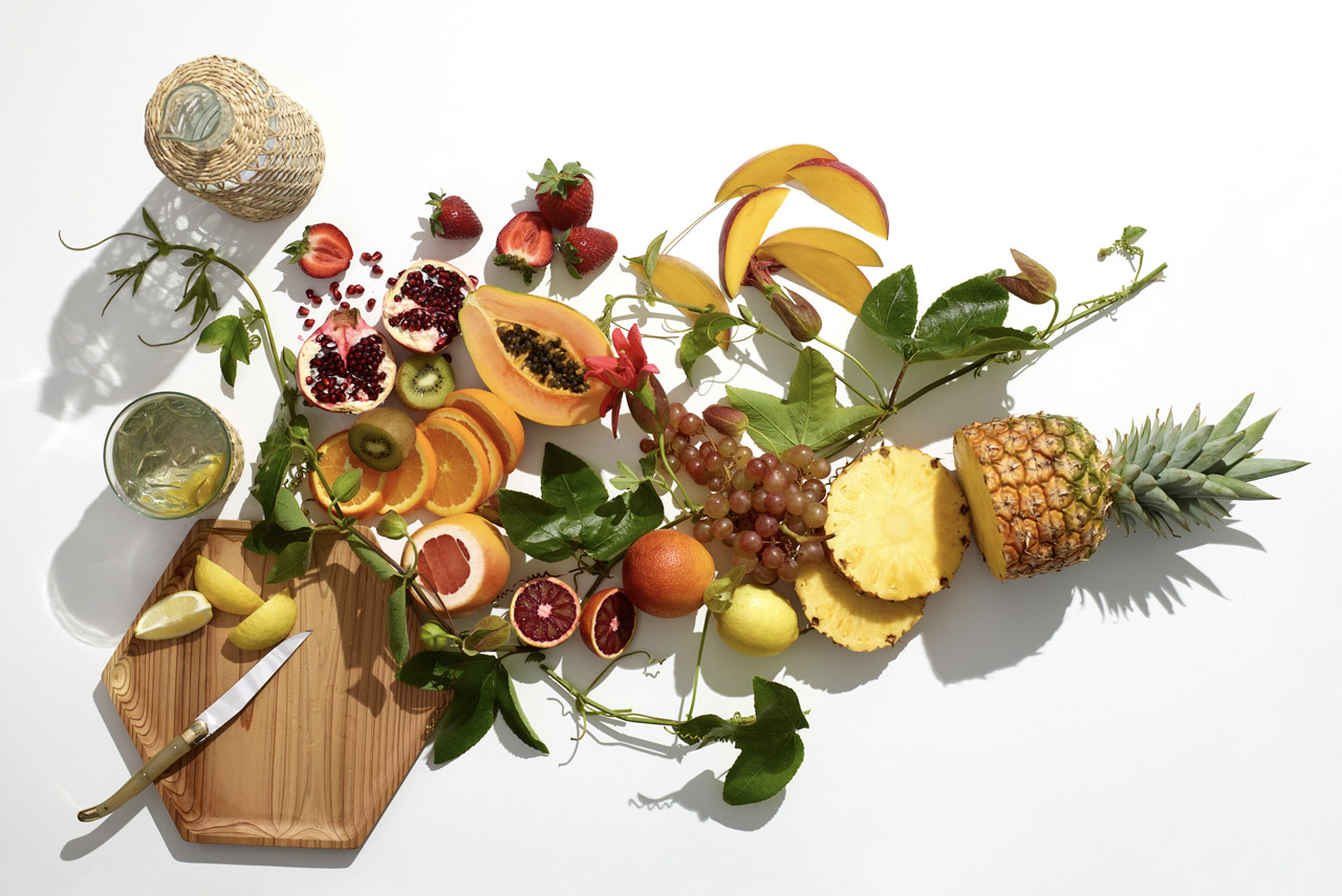 food stylist in San Francisco - Fresh fruits still life - Ingredients Skin Rx advertising by Robert Valentine art director photographed by Laurie Frankel photographer