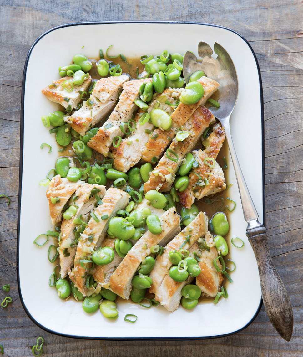 Robyn Valarik San Francisco Based Food & Drink Stylist - healthy, chicken, boneless, breast, cutlets, fresh, fava, beans, spring, dinner, supper, platter, family, simple, organic, scallions, juice, al-fresco, summer, tabletop, food-photography