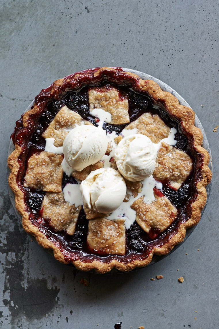 food stylist in San Francisco - Anjou Bakery's Marionberry Pie Sunset Magazine - 50 All-time best test kitchen recipes photographed by Peden & Munk