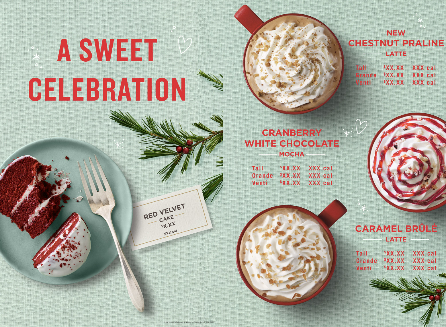 food stylist in San Francisco - Holiday latte, hot chocolate, hot coffee, red velvet cake. Starbucks Coffee - Saudi Arabia photographed by Annabelle Breakey photographer