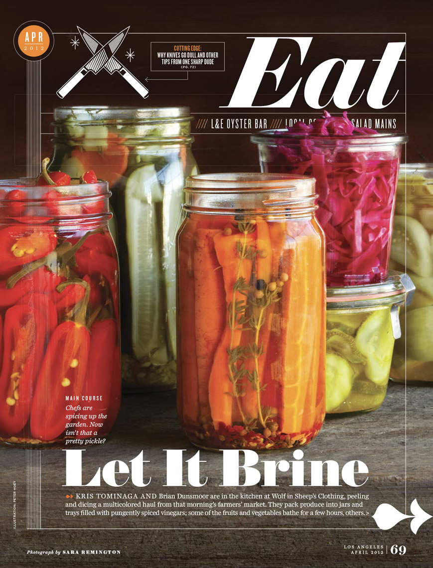 food stylist in San Francisco - Pickled carrots, pepper, cucumber, beets, onions in Ball jars LA Magazine - Pickle story photographed by Sara Remington photographer