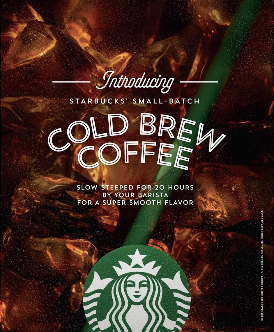 food stylist in San Fancisco - Cold brew on ice Starbucks advertising photographed by Annabelle Breakey photographer