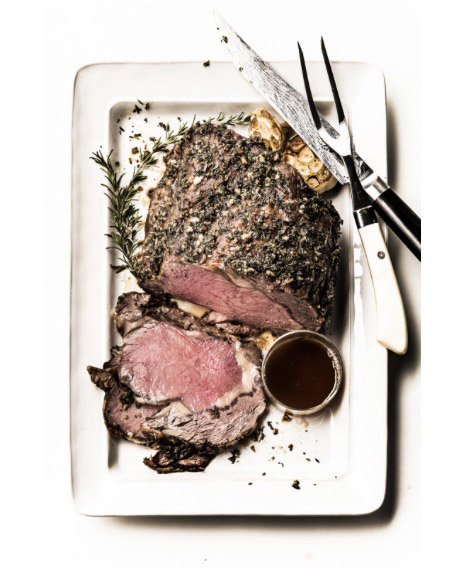 Robyn Valafood stylist in Dallas Texas - Boneless Herb crusted roast beef for Central Market banner AdvertisingCentral Market banner Advertising photographed by Manny Rodriguezrik San Francisco Based Food & Drink Stylist - beef, roast, rare, medium, crust, red, pink, carved, platter, rosemary, herbs, salt, pepper, recipe, ingredients, simple, holiday, entertaining, carving, fork, knife, juicy, grass-fed, organic, grass-finished, food-photography