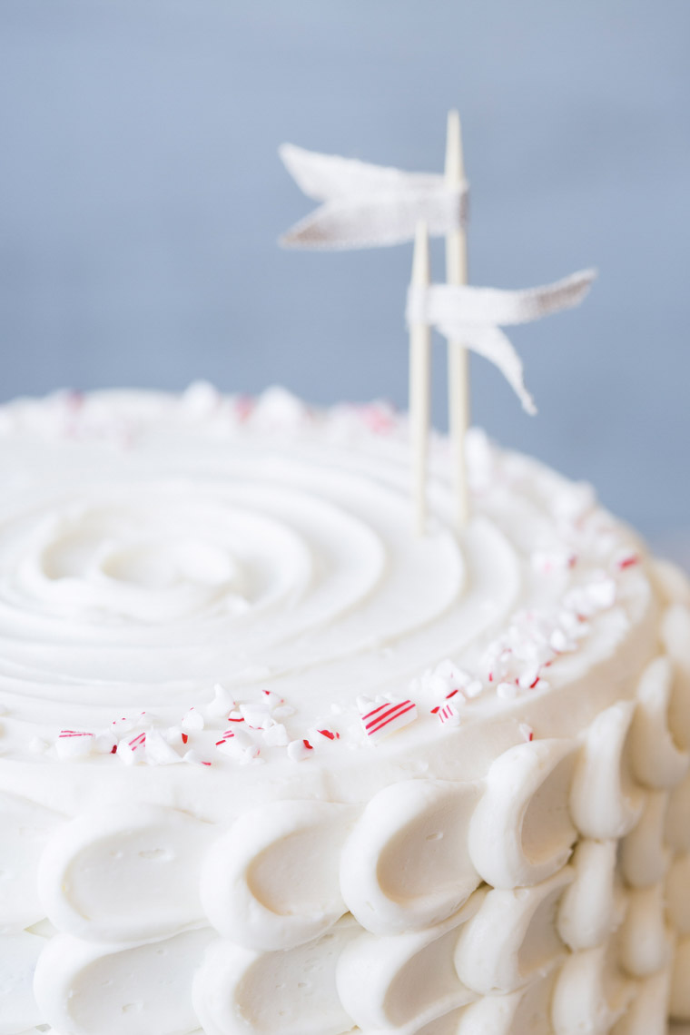food stylist in San Francisco - White chocolate peppermint cake for Let us All eat Cake cookbook - Catherine Ruehle author photographed by Erin Kunkel Photographer
