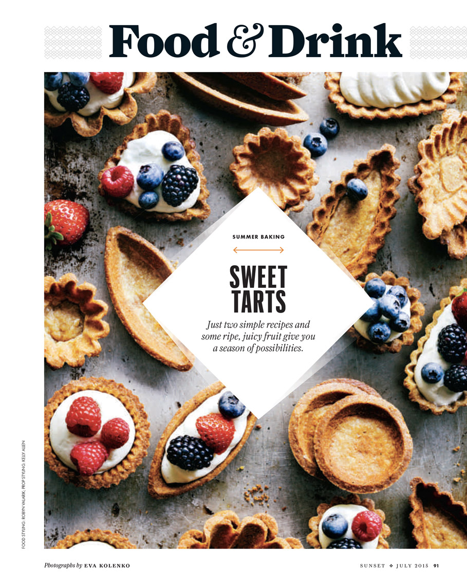 food stylist in San Francisco - Mixed berries. raspberry, blueberry , blackberry tartlets Sunset Magazine: Peak Season story photographed by Eva Klenko photographer