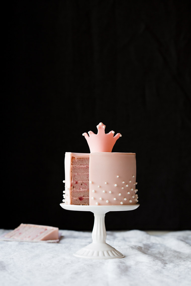 food stylist in San Francisco - Pink princess cake with crown Let us All eat Cake cookbook - Catherine Ruehle author photographed by Erin Kunkel Photographer