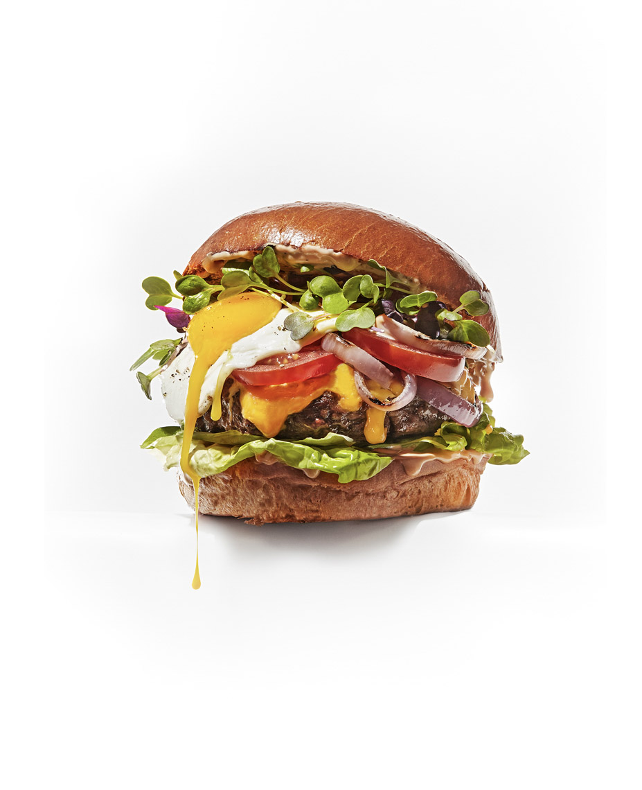 food stylist in San Francisco - Burger with sprouts and fried egg - photographed by Sue Tallon