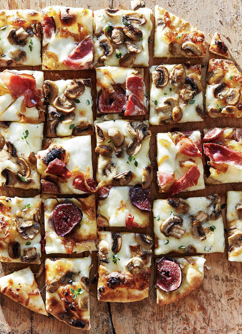 Robyn Valarik San Francisco Based Food & Drink Stylist - pizza, ampler, square, slices, cheese, mushrooms, figs, herbs, artisan, homemade, hors d