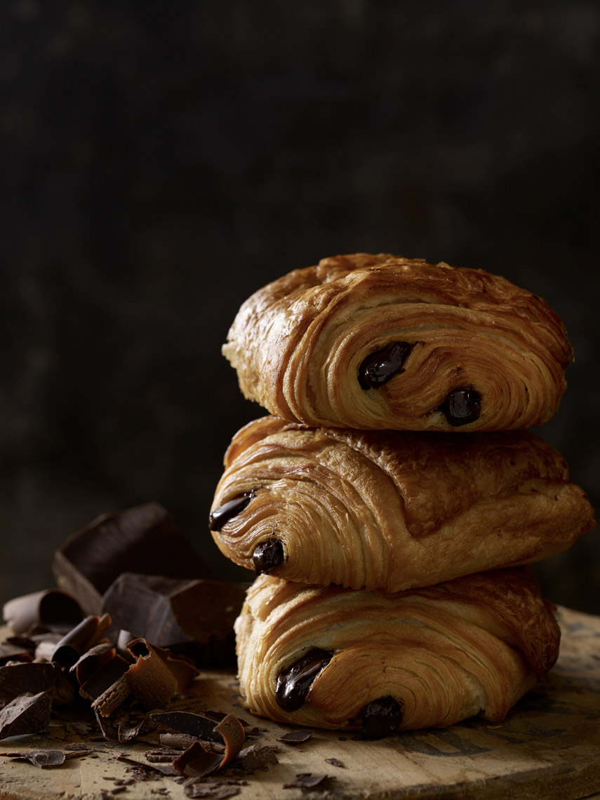 food stylist in Chicago - chocolate croissants, pain au chocolate for Starbucks store signage advertising photographed by Dan Goldberg photographer