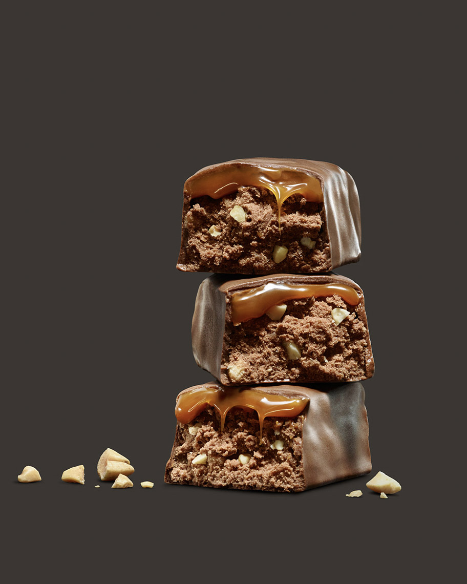 food stylist in San Francisco - Chocolate roasted peanut bar for MetRX bar Advertising photographed by Maren Caruso photographer