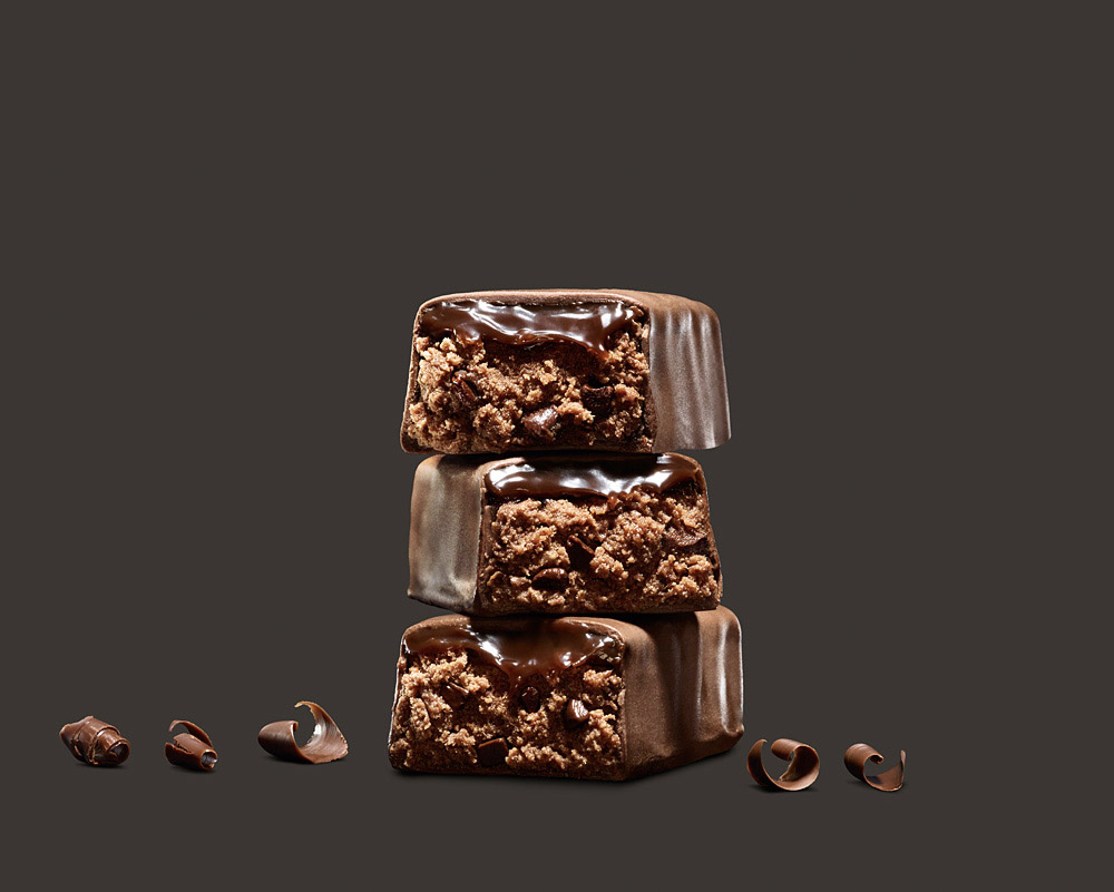food stylist in San Francisco - Chocolate Chunk bar for MetRX bar Advertising photographed by Maren Caruso photographer