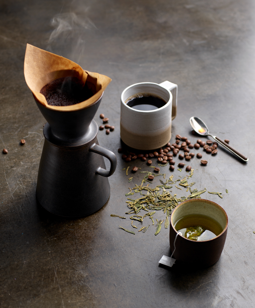 food stylist in San Francisco - Pour over coffee - Caffeine ingredeint for Skin Rx adverising Robert Valentine art director photographed by Laurie Frankel photographer