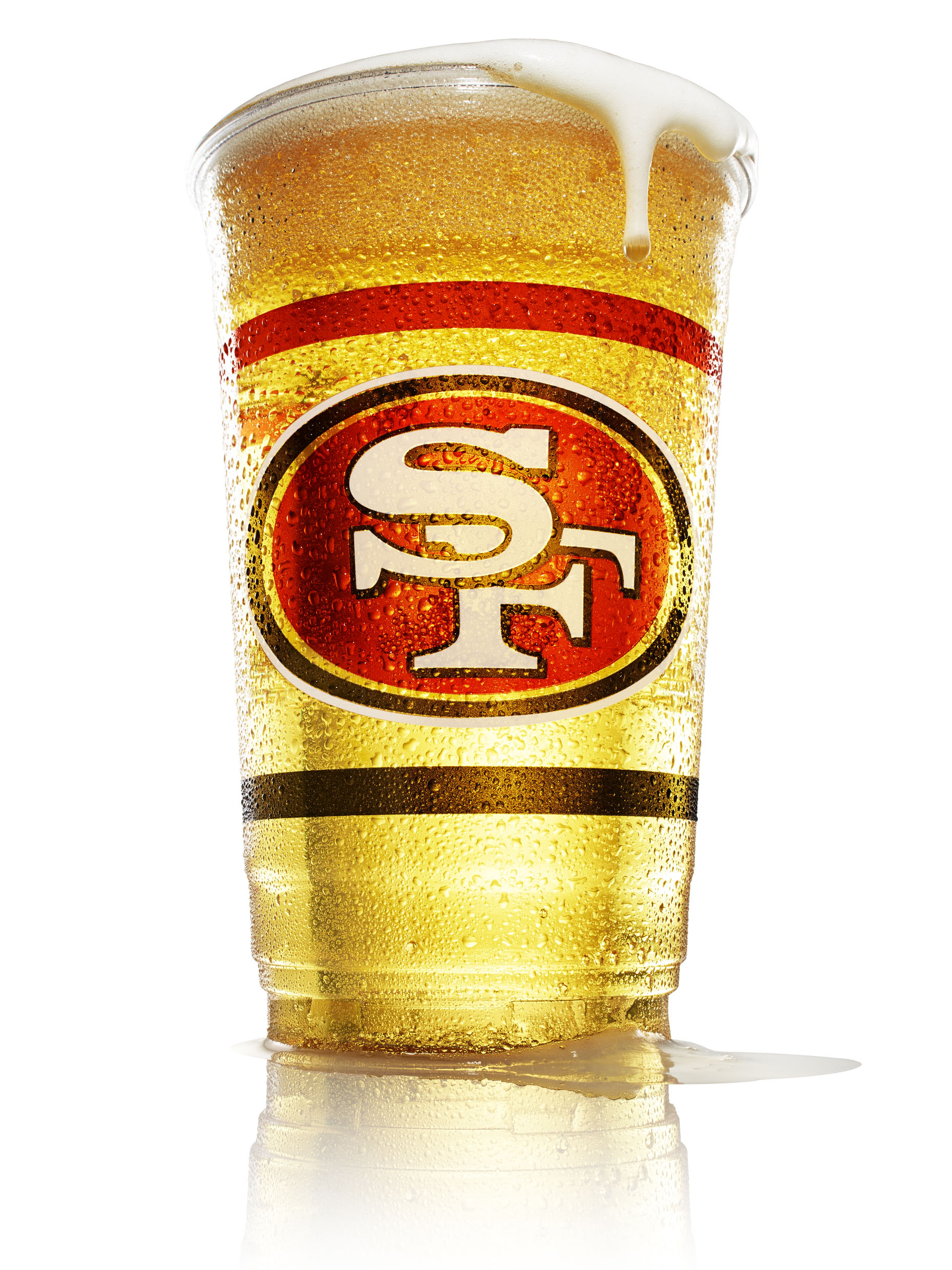 food stylist in San Francisco - large beer on tap with 49ers logo for San Francisco 49ers menu boards for Levi