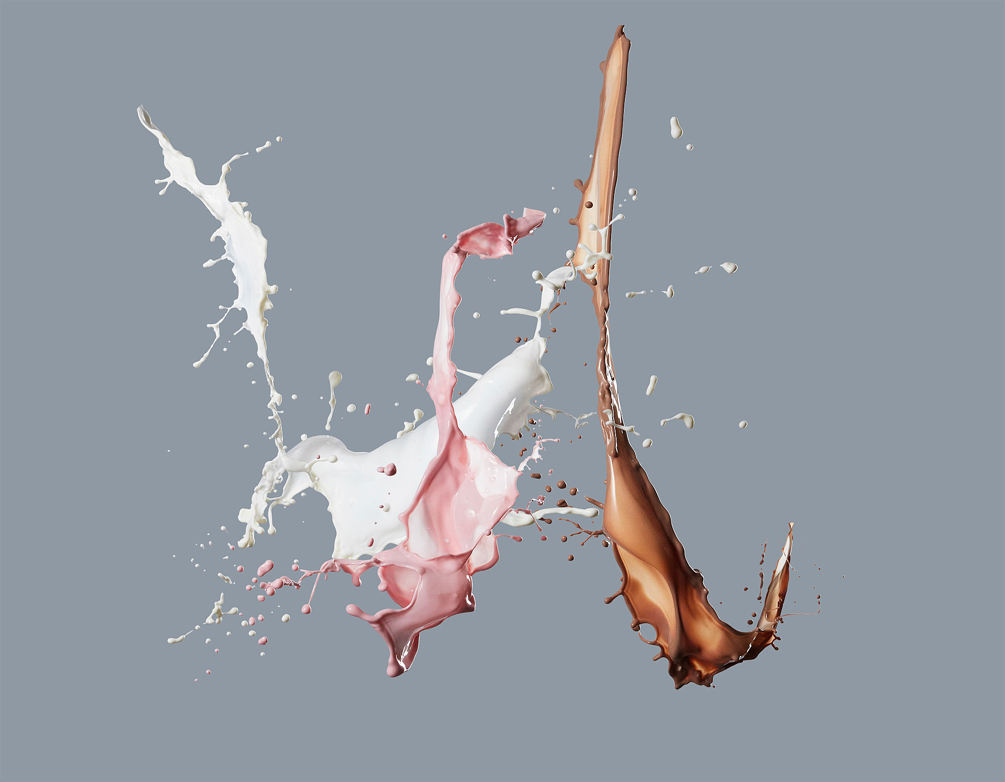 food stylist in San Francisco - Neopolitan milk splash, photographed by Maren Caruso photographer