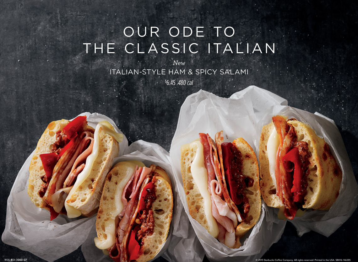 food stylist in Chicago - The classic Italian Starbucks hot sandwiches to-go menu boards advertising photographed by Dan Goldberg photographer