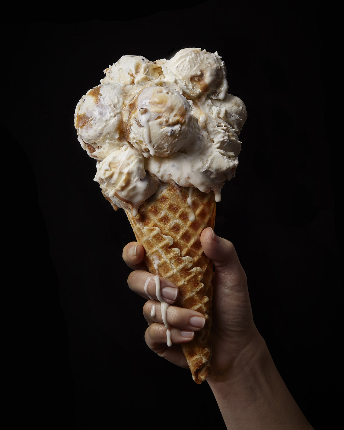 food stylist in San Francisco - Caramel toffee crunch ice cream cone Tillamook photographed by Sue Tallon Photographer