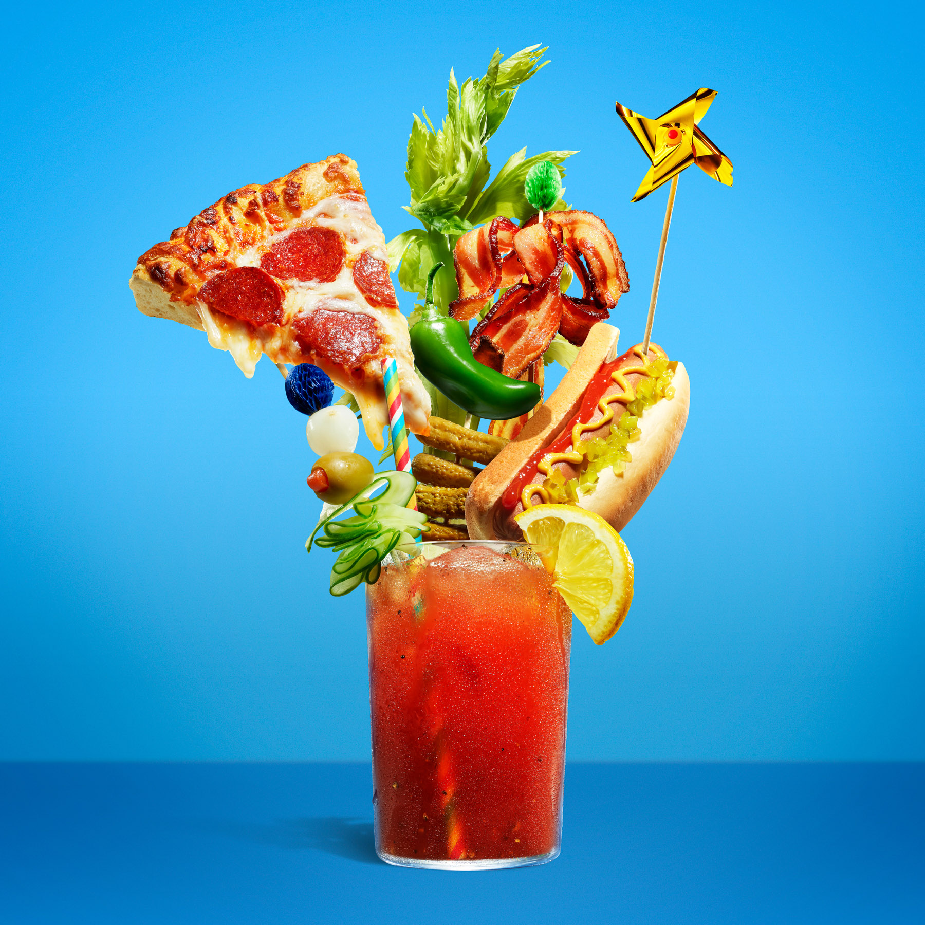 food stylist in San Francisco - Bloody mary with crazy garnishes - over-the-top cocktails, photographed by Annabelle Breakey photographer