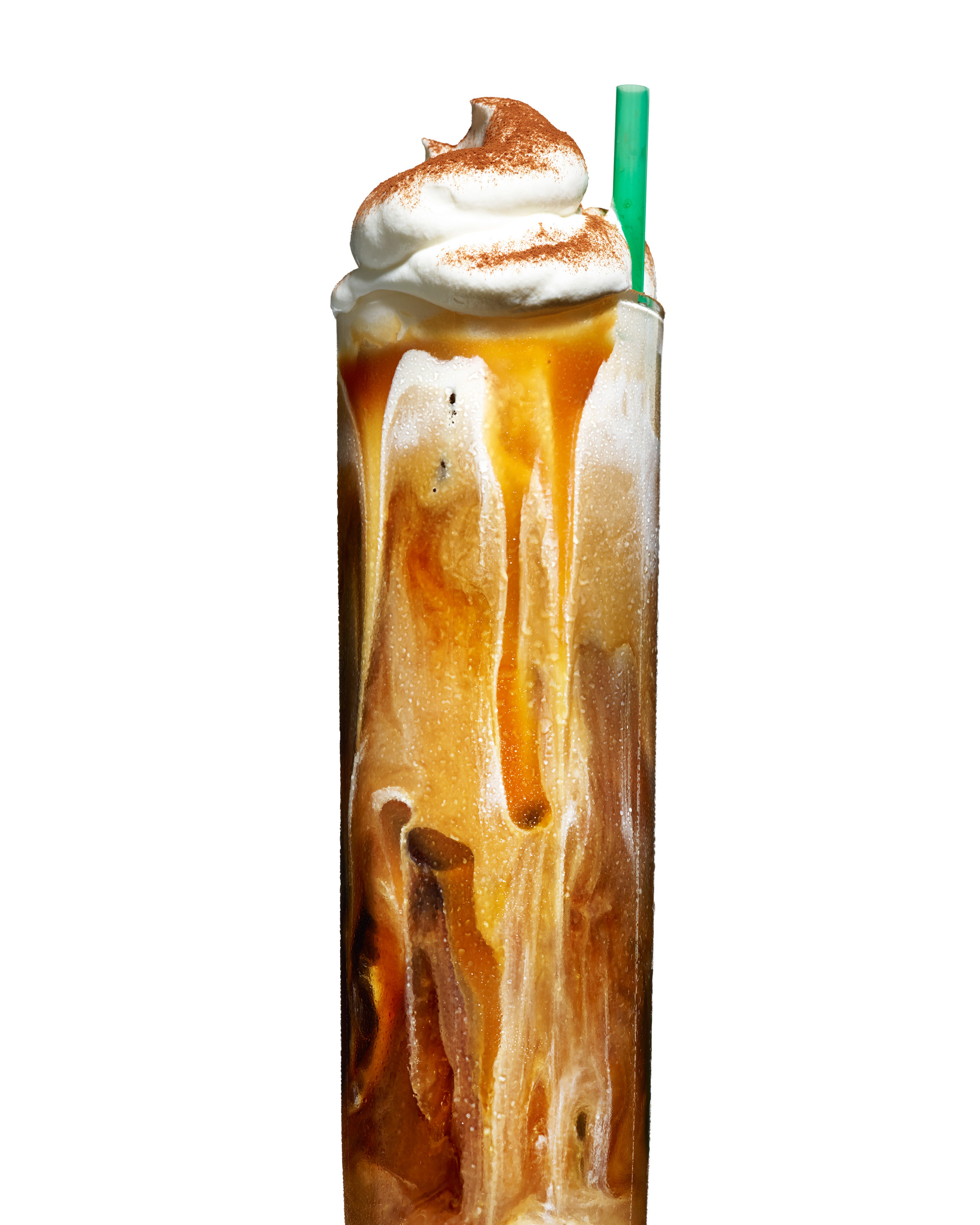 food stylist in San Francisco - Tall iced caramel latte for, photographed by Maren Caruso photographer